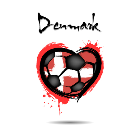 Abstract soccer ball shaped as a heart painted in the colors of the Denmark flag. Vector illustration