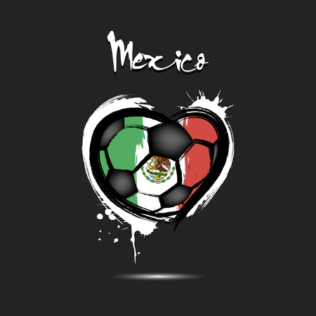 Abstract soccer ball shaped as a heart painted in the colors of the Mexico flag. Vector illustration Stock Illustratie