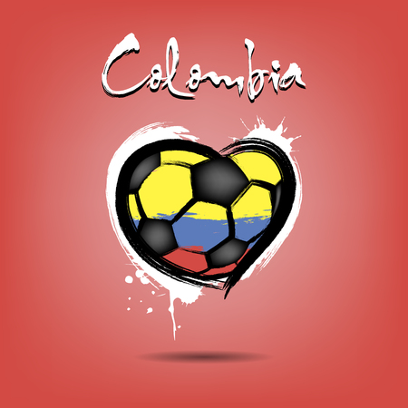 Abstract soccer ball shaped as a heart painted in the colors of the Colombia flag. Vector illustration
