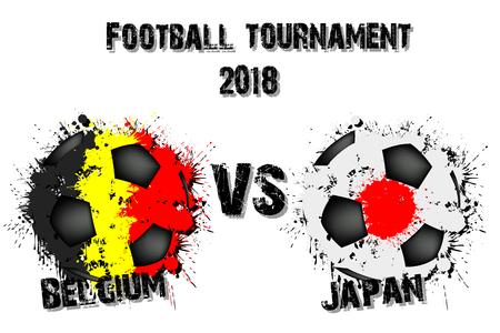Soccer game Belgium vs Japan. Football tournament match 2018. Vector illustration