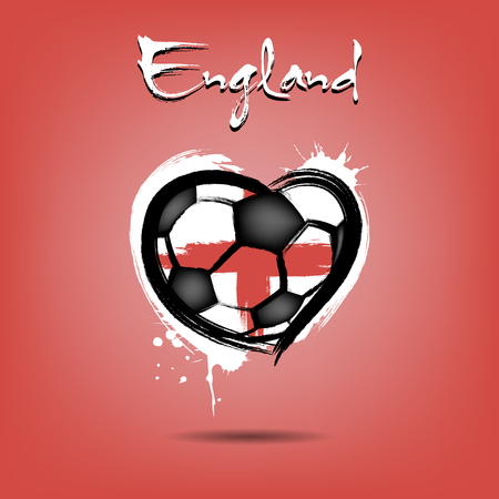 Abstract soccer ball shaped as a heart painted in the colors of the England flag. Vector illustration
