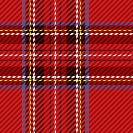 Tartan pattern. Scottish cage. Scottish checkered background. Traditional scottish ornament. Scottish plaid in classic colors. Seamless fabric texture. Christmas new year decor. Vector illustration