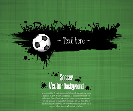 Grunge soccer background. Soccer ball and football fans. Grunge banner with splashes of ink. Vector illustration