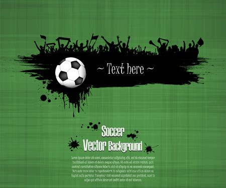 Sfondo di calcio grunge. Pallone da calcio e appassionati di calcio. Banner grunge con schizzi di inchiostro. Illustrazione vettoriale