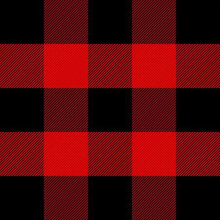 Tela escocesa de leñador. Patrón escocés en jaula roja y negra. Jaula escocesa. Fondo escocés a cuadros en colores clásicos. Adorno tradicional escocés. Textura de tela sin costuras. Ilustración vectorial Ilustración de vector