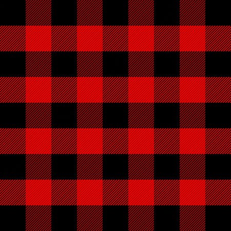Lumberjack plaid. Scottish pattern in red and black cage. Scottish cage. Scottish checkered background in classic colors. Traditional scottish ornament. Seamless fabric texture. Vector illustration