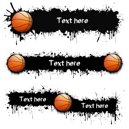 Set of hand drawn grunge banners with basketball ball. Black background with splashes of watercolor ink and blots. Vector illustration Stock Illustratie
