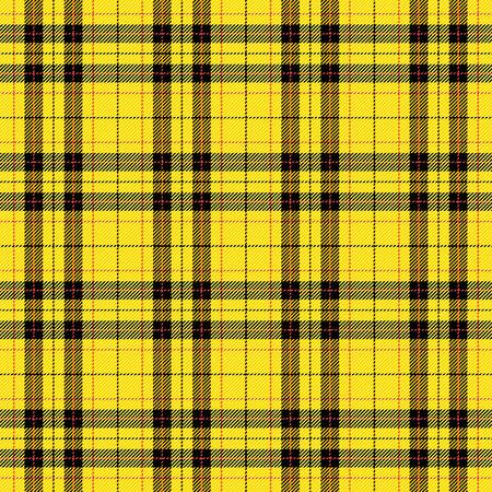 Motif tartan. Cage écossaise. Fond damier jaune écossais. Plaid écossais aux couleurs jaunes. Texture de tissu sans couture. Illustration vectorielle