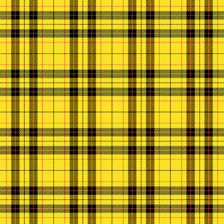 Tartan pattern. Scottish cage. Scottish yellow checkered background. Scottish plaid in yellow colors. Seamless fabric texture. Vector illustration
