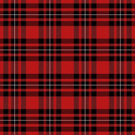 Motif tartan. Cage écossaise. Fond damier rouge écossais. Plaid écossais dans les couleurs rouges et noires. Texture de tissu minuscule. Illustration vectorielle