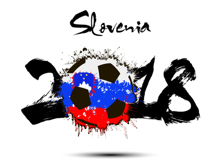 Abstract number 2018 and soccer ball painted in the colors of the Slovenia flag. Vector illustration