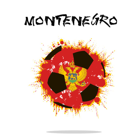 Abstract soccer ball painted in the colors of the Montenegro flag. Vector illustration