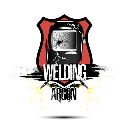 Logo Template Design Schweißen Argon. Abstrakte Maske eines Schweißers mit Gasbrennern. Grunge-Stil. Auf weißem Hintergrund isoliert. Vektorillustration