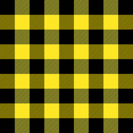 Lumberjack plaid. Scottish pattern in yellow and black cage. Scottish cage. Buffalo check. Traditional scottish ornament. Seamless fabric texture. Vector illustration