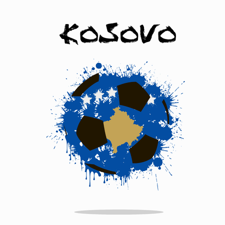 Abstract soccer ball painted in the colors of the Kosovo flag. Vector illustration