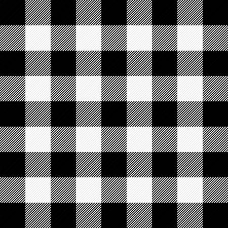 Plaid da boscaiolo. Motivo scozzese in gabbia bianca e nera. Gabbia scozzese. Controllo Buffalo. Ornamento scozzese tradizionale. Trama del tessuto senza soluzione di continuità. Illustrazione vettoriale Vettoriali