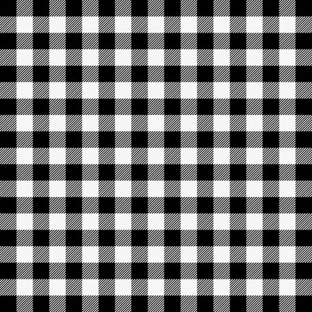 Lumberjack plaid. Scottish pattern in white and black cage. Scottish cage. Buffalo check. Traditional scottish ornament. Seamless fabric texture. Vector illustration