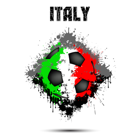 Abstract soccer ball painted in the colors of the Italy flag. Vector illustration