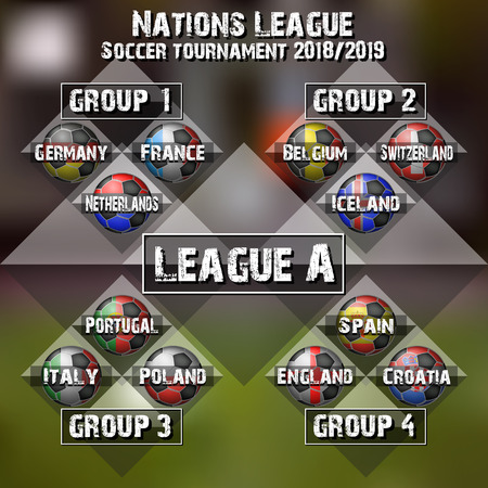 Football Nations league groups. Soccer tournament league A. Set of different flags country. Vector illustration