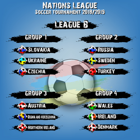 Soccer team group set. Nations league. Football tournament league B. Flags country. Vector illustration Banque d'images - 106874172