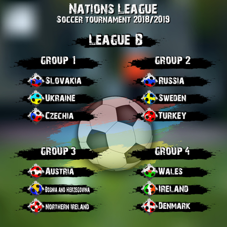 Soccer team group set. Nations league. Football tournament league B. Flags country. Vector illustration
