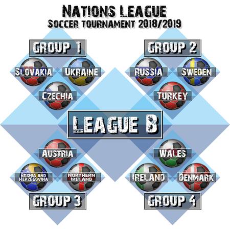 Soccer team group set. Football tournament league B. Flags country. Vector illustration Illustration