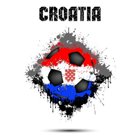 Abstract soccer ball painted in the colors of the Croatia flag. Vector illustration 矢量图像