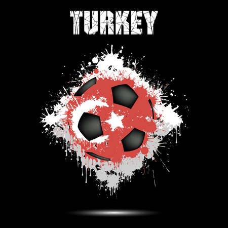 Abstract soccer ball painted in the colors of the Turkey flag. Vector illustration