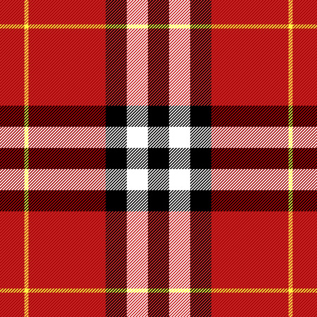 Tartan pattern. Scottish cage. Scottish checkered background. Scottish ornament. Scottish plaid in classic colors. Seamless fabric texture. Vector illustration