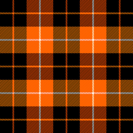Halloween Tartan plaid. Scottish pattern in orange, black, gray and white cage. Scottish cage. Traditional Scottish checkered background. Seamless fabric texture. Vector illustration Banco de Imagens - 110009866