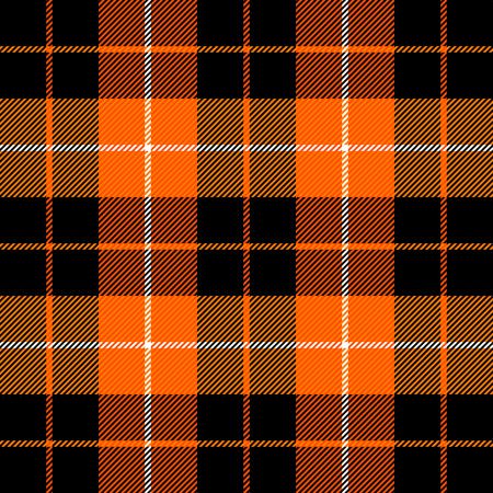 Tela escocesa de tartán de Halloween. Patrón escocés en jaula naranja, negra, gris y blanca. Jaula escocesa. Fondo a cuadros tradicional escocés. Textura de tela sin costuras. Ilustración vectorial