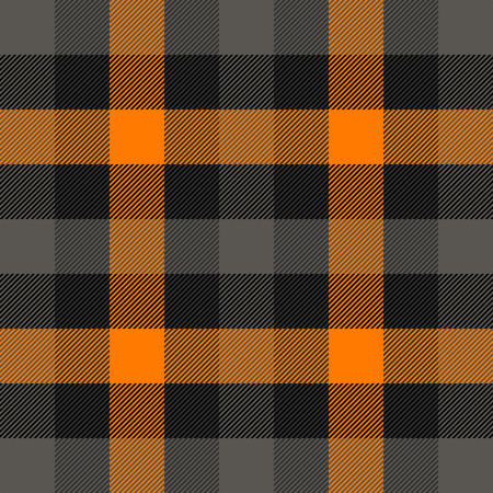 Halloween Tartan plaid. Scottish pattern in orange, black, gray and white cage. Scottish cage. Traditional Scottish checkered background. Seamless fabric texture. Vector illustration Banco de Imagens - 110010544