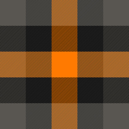 Halloween Tartan plaid. Scottish pattern in orange, black, gray and white cage. Scottish cage. Traditional Scottish checkered background. Seamless fabric texture. Vector illustration
