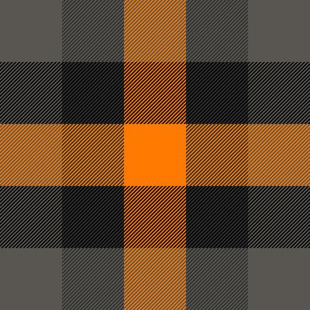 Halloween Tartan plaid. Scottish pattern in orange, black, gray and white cage. Scottish cage. Traditional Scottish checkered background. Seamless fabric texture. Vector illustration