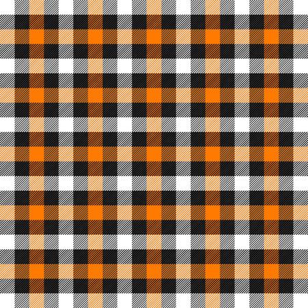 Halloween Tartan plaid. Scottish pattern in orange, black, white and gray cage. Scottish cage. Traditional Scottish checkered background. Seamless fabric texture. Vector illustration Ilustração