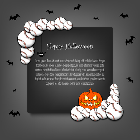 Halloween pattern. Frame halloween with baseball balls, pumpkin, spider and flying bats on an grey background. Pattern for banner, poster, greeting card, party invitation. Vector illustration