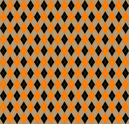 Halloween Argyle plaid. Scottish pattern in orange, black, beige and yellow rhombuses. Scottish cage. Traditional Scottish background of diamonds . Seamless fabric texture. Vector illustration Ilustracje wektorowe