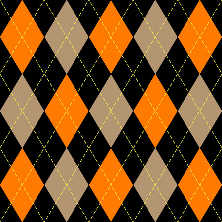 Halloween Argyle plaid. Scottish pattern in orange, black, beige and yellow  rhombuses. Scottish cage. Traditional Scottish background of diamonds . Seamless fabric texture. Vector illustration Stock Illustratie