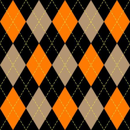 Halloween Argyle plaid. Scottish pattern in orange, black, beige and yellow  rhombuses. Scottish cage. Traditional Scottish background of diamonds . Seamless fabric texture. Vector illustration Illustration