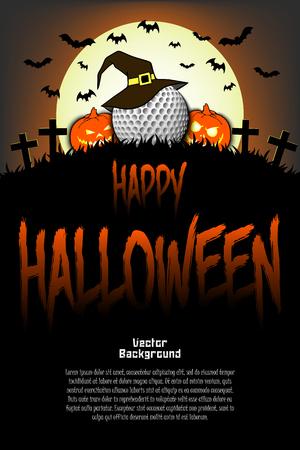 Halloween-patroon. Golfbal met heksenhoed, pompoenen, vliegende vleermuizen en kruisen op de achtergrond van de maan. Patroon voor spandoek, poster, wenskaart, uitnodiging voor feest. vector illustratie