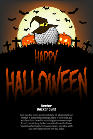Halloween pattern. Golf ball with witch hat, pumpkins, flying bats and crosses on the background of the moon. Pattern for banner, poster, greeting card, party invitation. Vector illustration Standard-Bild - 110010014