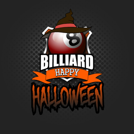 Halloween pattern.Billiard logo template design. Billiard ball with witch hat. Pattern for banner, poster, greeting card, party invitation. Vector illustration
