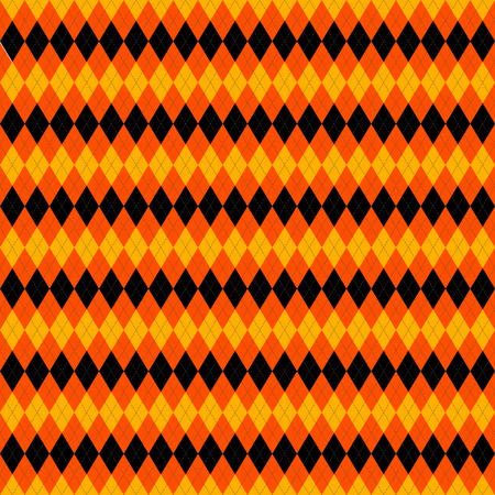 Halloween Argyle plaid. Scottish pattern in orange, black and yellow rhombuses. Scottish cage. Traditional Scottish background of diamonds . Seamless fabric texture. Vector illustration