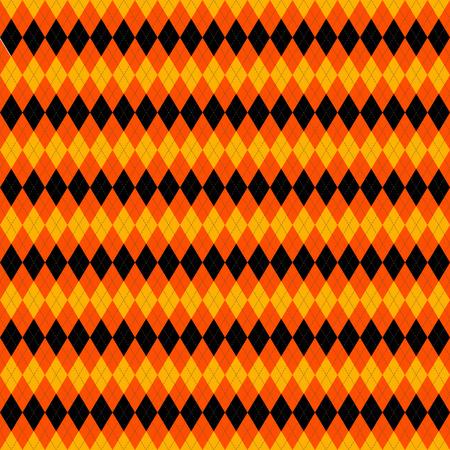 Halloween Argyle plaid. Scottish pattern in orange, black and yellow rhombuses. Scottish cage. Traditional Scottish background of diamonds . Seamless fabric texture. Vector illustration