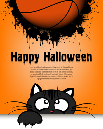 Happy Halloween. Cat muzzle is looking up at the basketball ball. Design pattern for banner, poster, greeting card, flyer, party invitation. Cartoon style. Vector illustration