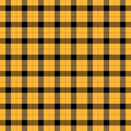Tela escocesa de tartán de Halloween. Patrón escocés en jaula naranja, negra, amarilla y gris. Jaula escocesa. Fondo a cuadros tradicional escocés. Textura de tela sin costuras. Ilustración vectorial