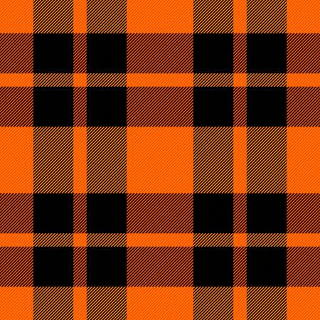 Halloween Tartan plaid. Scottish pattern in orange and black cage. Scottish cage. Traditional Scottish checkered background. Seamless fabric texture. Vector illustration Illustration