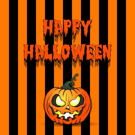Feliz Halloween. Calabaza sonriente siniestra. Patrón de diseño de pancarta, póster, tarjeta de felicitación, folleto, invitación a una fiesta. Ilustración vectorial