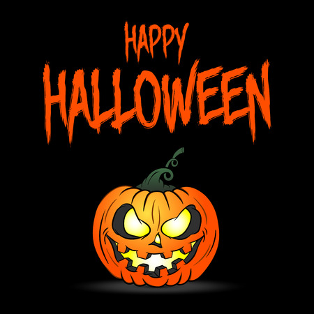 Happy halloween. Sinister smiling pumpkin. Design pattern for banner, poster, greeting card, flyer, party invitation. Vector illustration