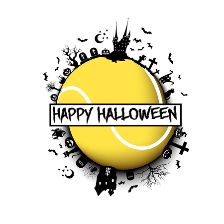 Happy halloween. Objects and elements of Halloween on the background of a tennis ball. Design pattern for banner, poster, greeting card, flyer, party invitation. Vector illustration